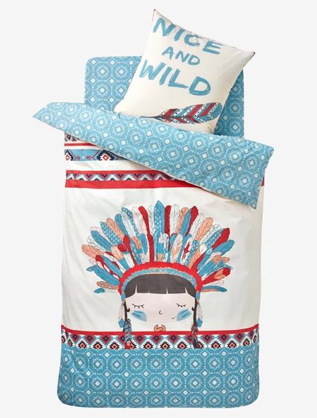parure housse de couette taie d 39 oreiller p 39 tite indienne beige turquoise vertbaudet. Black Bedroom Furniture Sets. Home Design Ideas