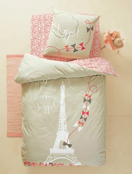 parure housse de couette taie d 39 oreiller enfant une nuit a paris gris rose vertbaudet. Black Bedroom Furniture Sets. Home Design Ideas