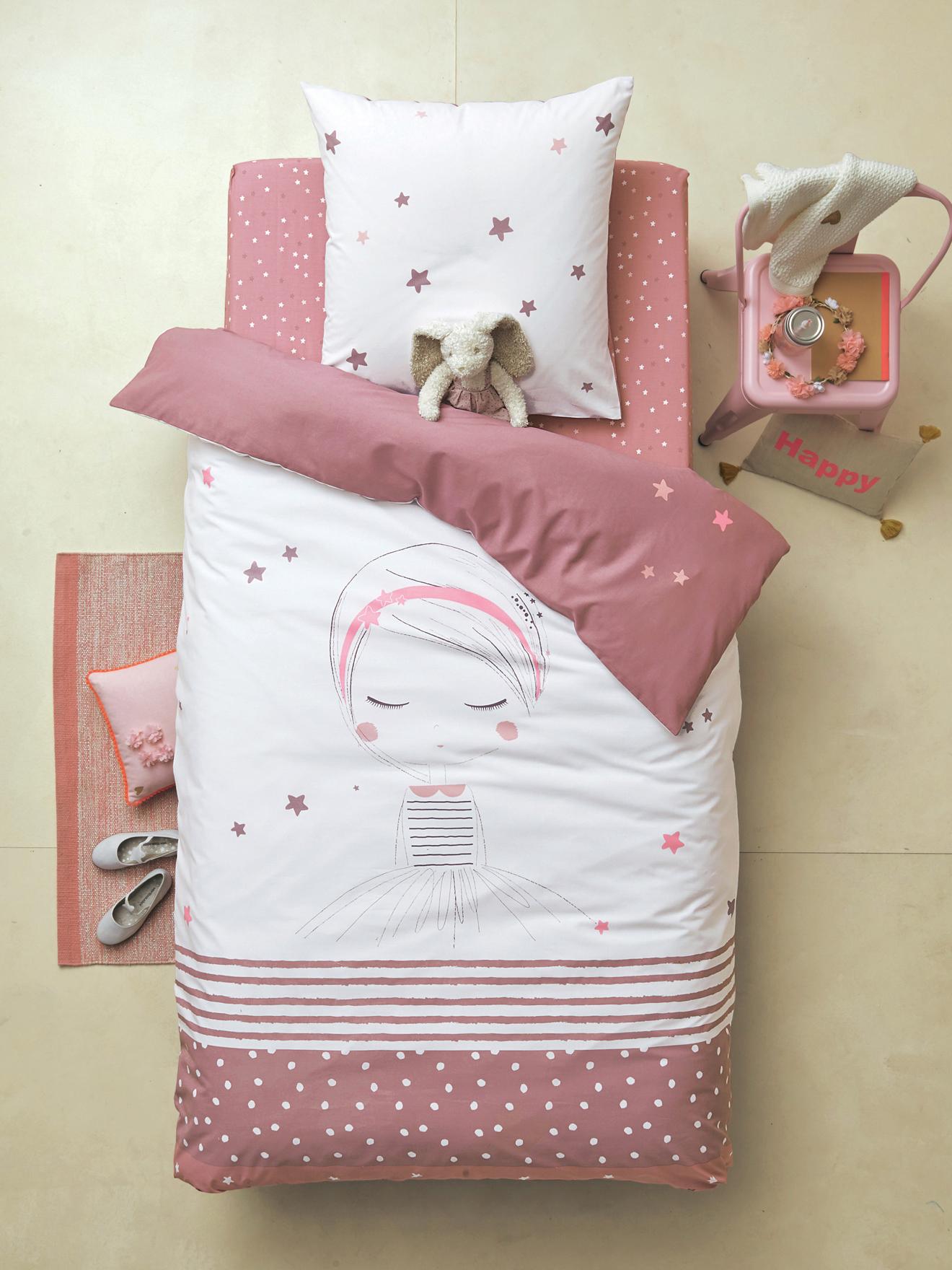 parure r versible housse de couette taie d 39 oreiller enfant petite r veuse blanc parme vertbaudet. Black Bedroom Furniture Sets. Home Design Ideas