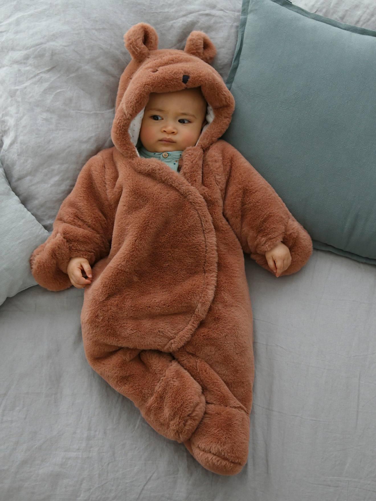 Combi-pilote bébé aspect fourrure ouatinée moka - Vertbaudet