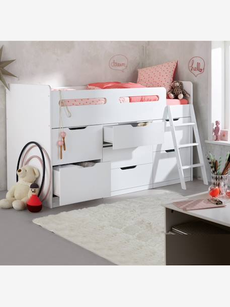combin lit enfant avec rangements passe passe xxl blanc vertbaudet. Black Bedroom Furniture Sets. Home Design Ideas