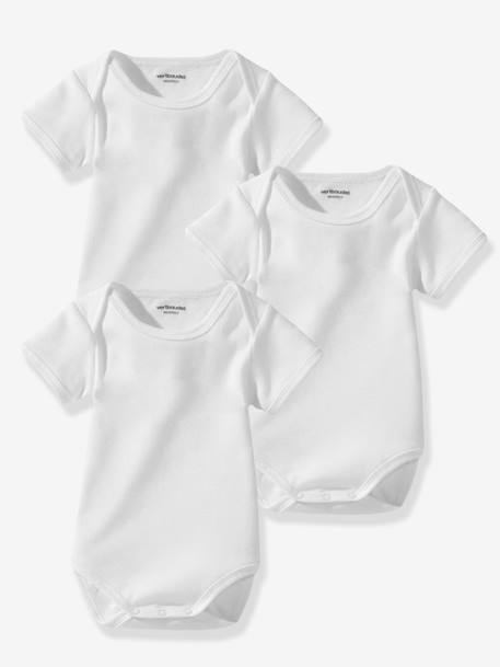 Lot de 3 bodies bébé Bio Collection blancs manches courtes Blanc 2 - vertbaudet enfant