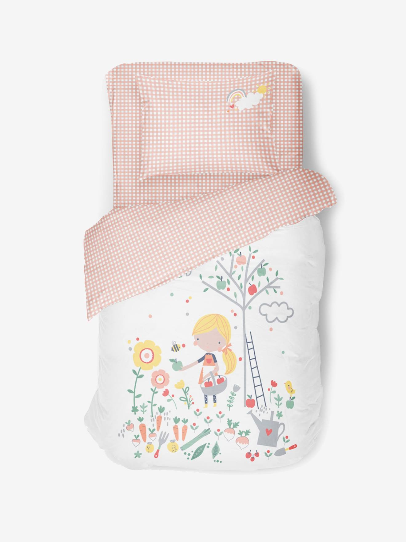 De gros Drap-housse enfant Bio Collection LOVELY WORLD carreaux blanc/rose o9SM2