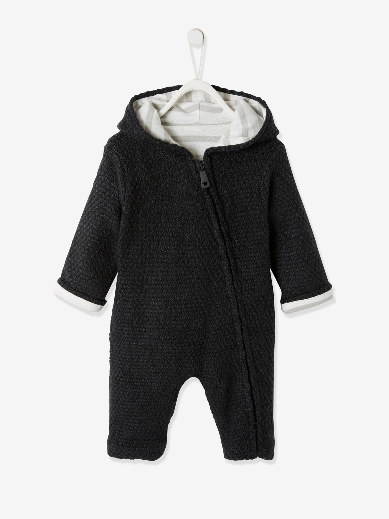 Combinaison en tricot bébé naissance doublée - ivoire rayé