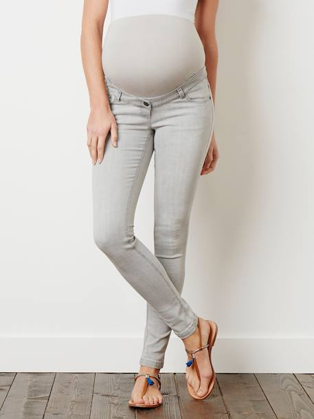 Jean slim stretch de grossesse entrejambe 85 Denim black+Denim brut+Denim gris+Denim Gris Clair+Double Stone 20 - vertbaudet enfant