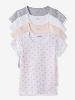 Nouvelle collection-Fille-Lot de 4 T-shirts fille manches courtes