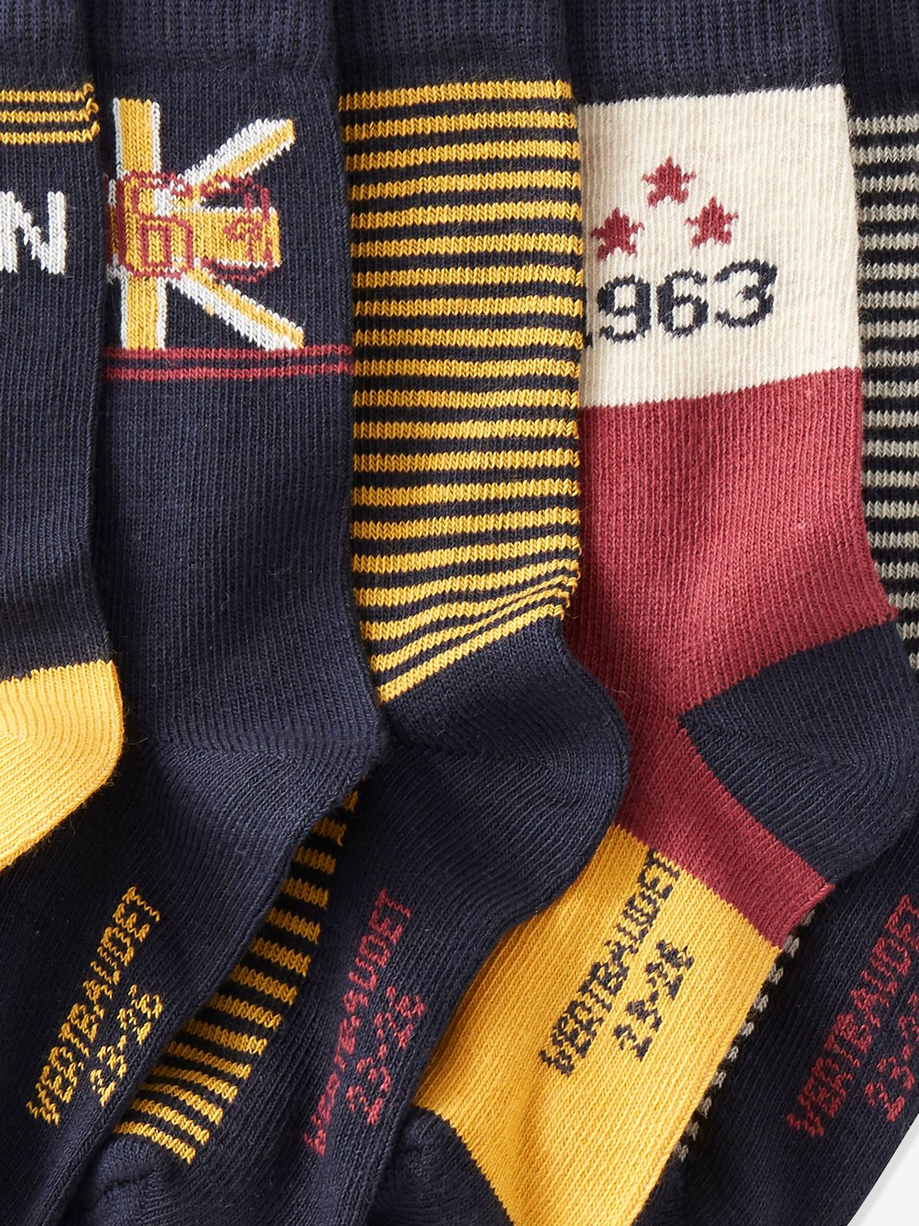 Site officiel Lot de 5 paires de mi-chaussettes garçon London lot jaune épicé pwcqE