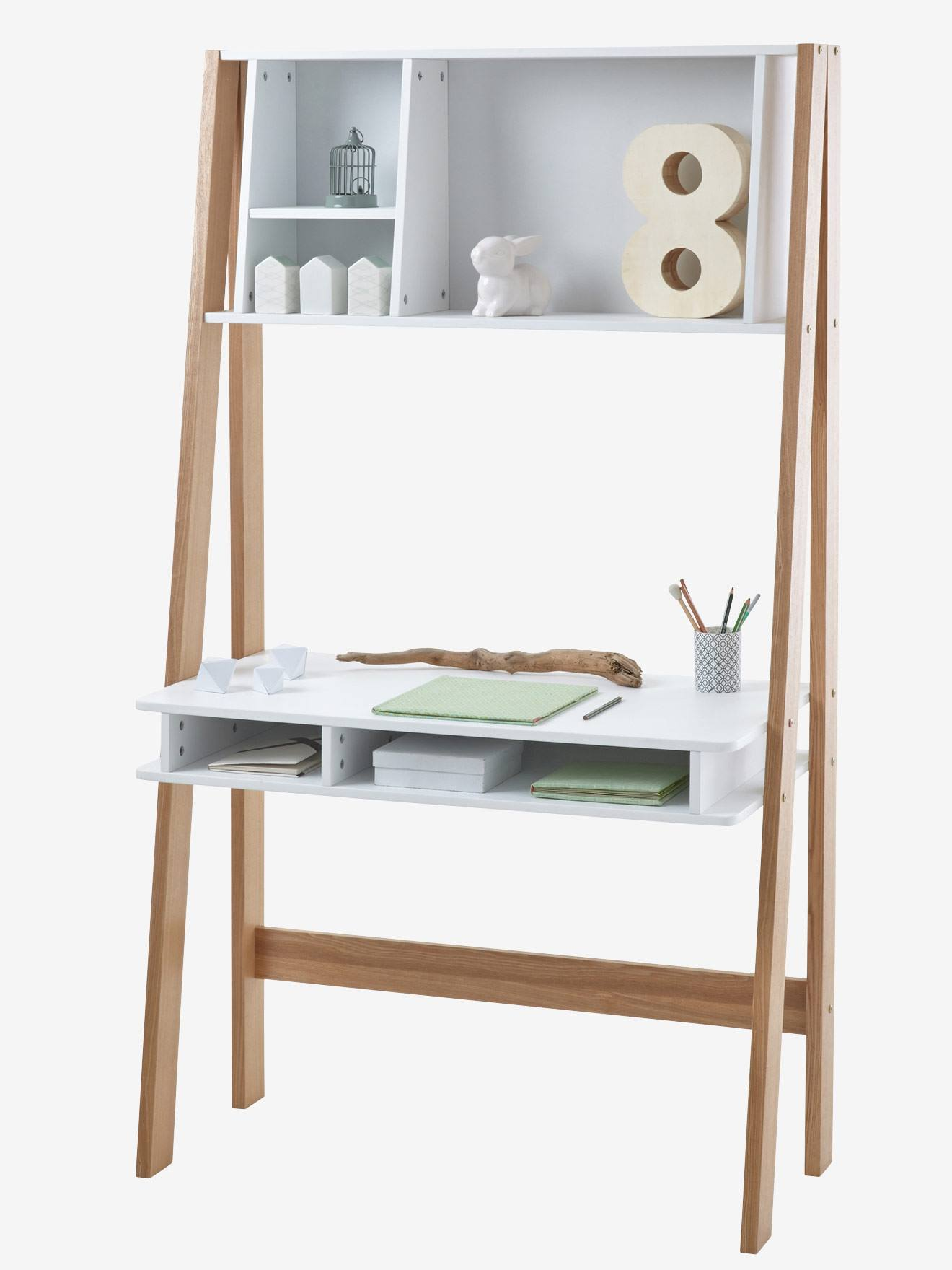 Bureau junior architekt avec tag res blanc bois vertbaudet for Bureau etagere