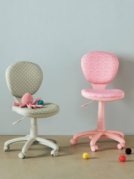 chaise de bureau roulettes rose fleurs vertbaudet. Black Bedroom Furniture Sets. Home Design Ideas