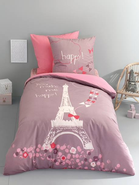 parure housse de couette taie d 39 oreiller enfant une nuit a paris parme imprim vertbaudet. Black Bedroom Furniture Sets. Home Design Ideas