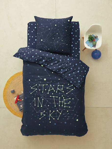 parure phosphorescente housse de couette taie d 39 oreiller enfant stars in the sky bleu nuit. Black Bedroom Furniture Sets. Home Design Ideas