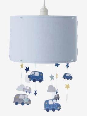 Image of Luminaire enfant - Abat-jour nuages et voitures à suspendre bleu vertbaudet