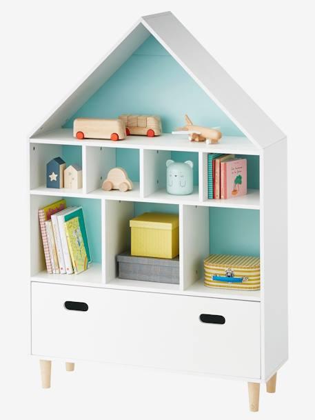 Meuble de rangement maison 9 cases blanc bleu vertbaudet for Meuble 9 cases leclerc