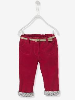 after british-Pantalon bébé fille en velours doublé + ceinture