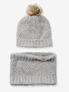Nouvelle collection-Ensemble bonnet + snood fille