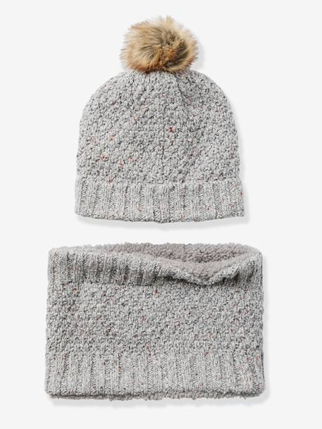 Ensemble bonnet + snood fille Gris clair chiné 1 - vertbaudet enfant