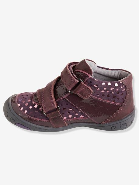 Bottines cuir fille collection maternelle Noir+Rose pâle+Violet 18 - vertbaudet enfant