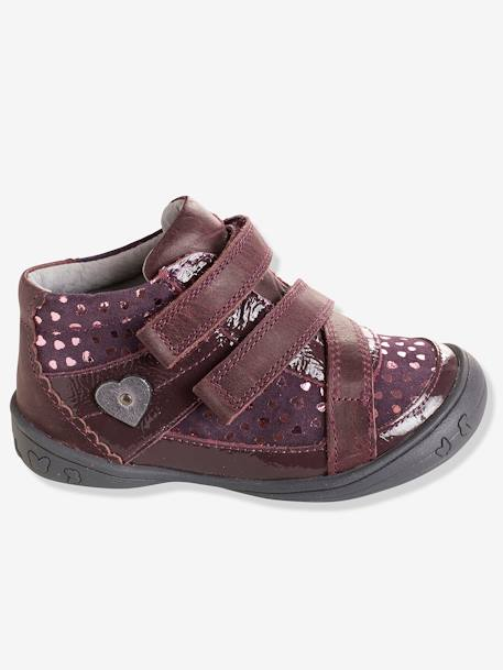 Bottines cuir fille collection maternelle Noir+Rose pâle+Violet 13 - vertbaudet enfant
