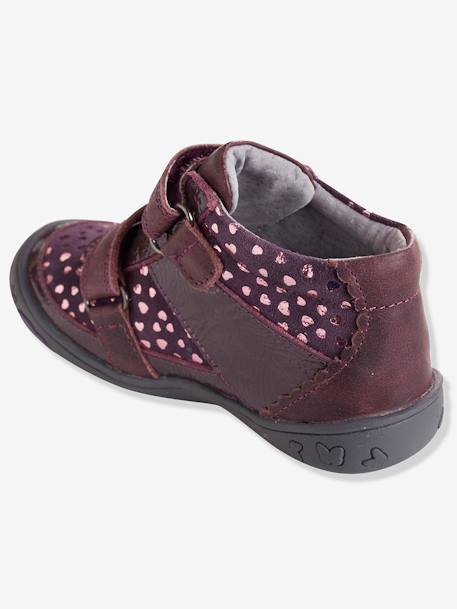 Bottines cuir fille collection maternelle Noir+Rose pâle+Violet 17 - vertbaudet enfant