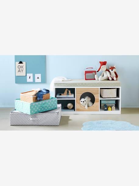 meuble 2 en 1 rangement banquette hublot blanc bois vertbaudet. Black Bedroom Furniture Sets. Home Design Ideas