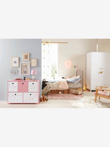 meuble de rangement 5 bacs histoires fabuleuses rose. Black Bedroom Furniture Sets. Home Design Ideas