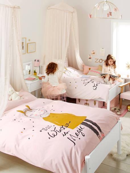 parure r versible housse de couette taie d 39 oreiller enfant lap 39 princessse blanc rose vertbaudet. Black Bedroom Furniture Sets. Home Design Ideas