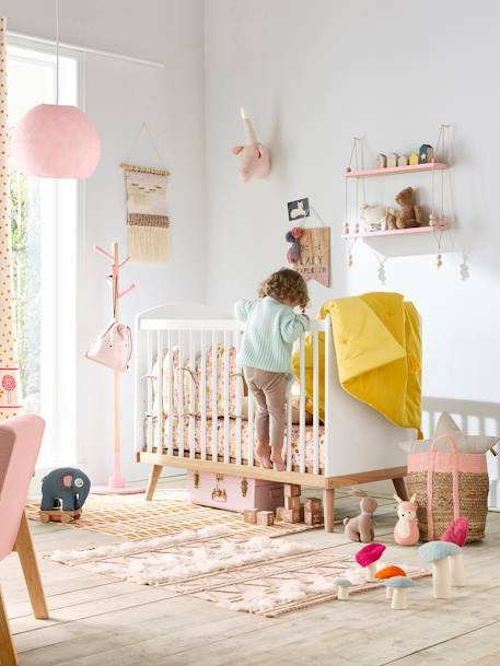 Lit b b barreaux confetti blanc vertbaudet - Lit bebe a barreaux ...