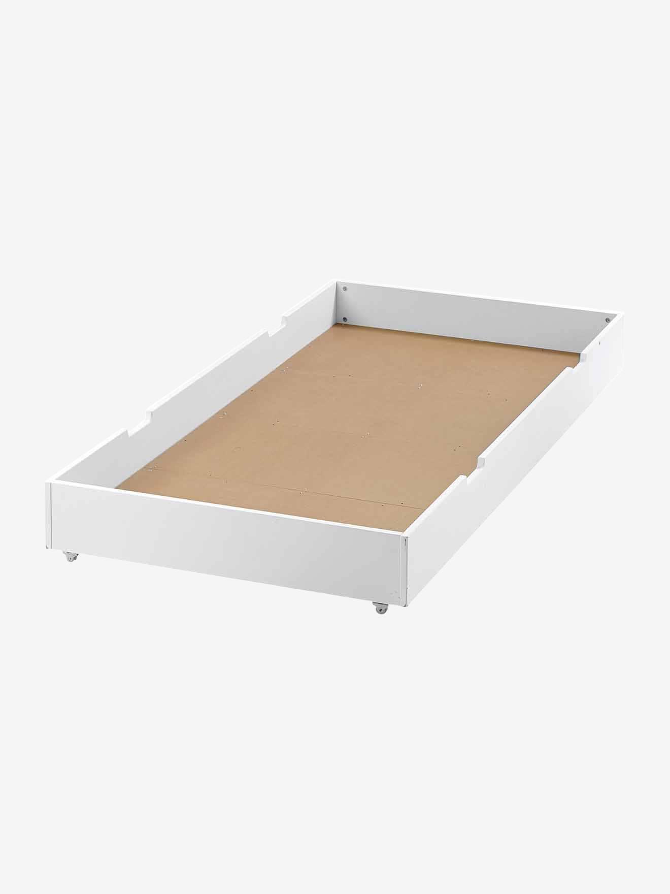 Tiroir et tiroir lit roulettes pour lit enfant fixe for Table a roulette pour lit