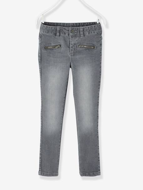 Pantalon skinny fille en denim tour de hanches MEDIUM Denim brut+Denim gris 4 - vertbaudet enfant