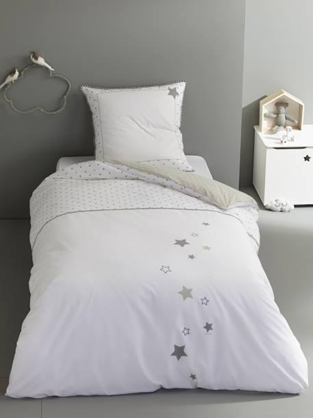 parure r versible housse de couette taie d 39 oreiller enfant pluie d 39 etoiles blanc imprim. Black Bedroom Furniture Sets. Home Design Ideas