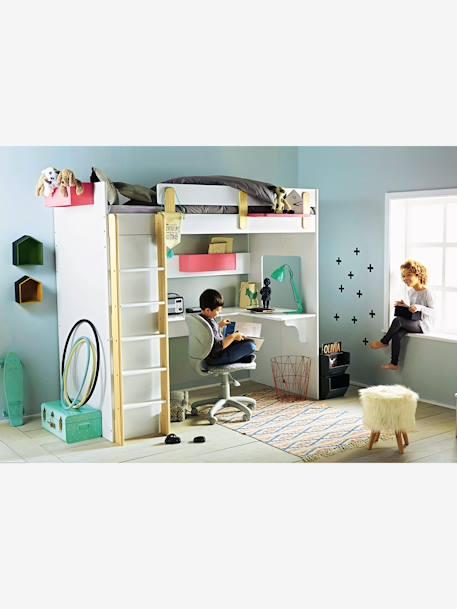lit mezzanine combin everest xxl blanc bois vertbaudet. Black Bedroom Furniture Sets. Home Design Ideas