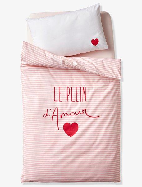 housse de couette b b le plein d amour rose imprim vertbaudet. Black Bedroom Furniture Sets. Home Design Ideas
