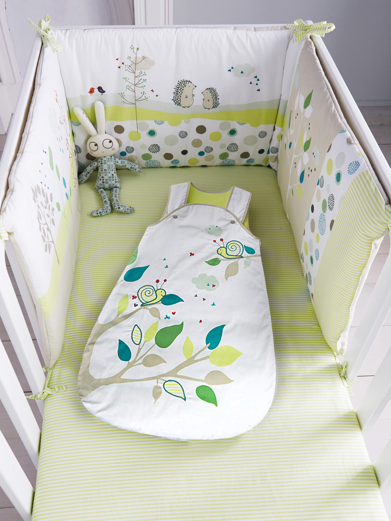 Tour de lit bébé brodé PIC-NIC vert - Vertbaudet