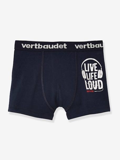 Lot de 3 boxers stretch garçon Music Lot encre 2 - vertbaudet enfant