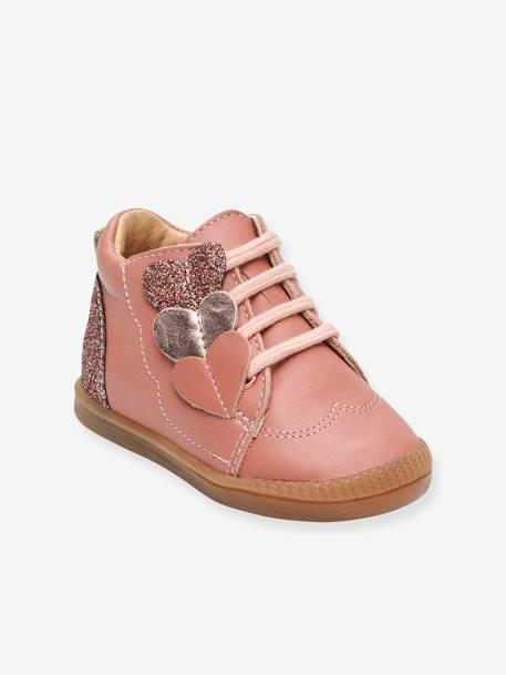Bottillons Sneakers Cuir Bébé Fille Flirt Babybotte Rose Babybotte