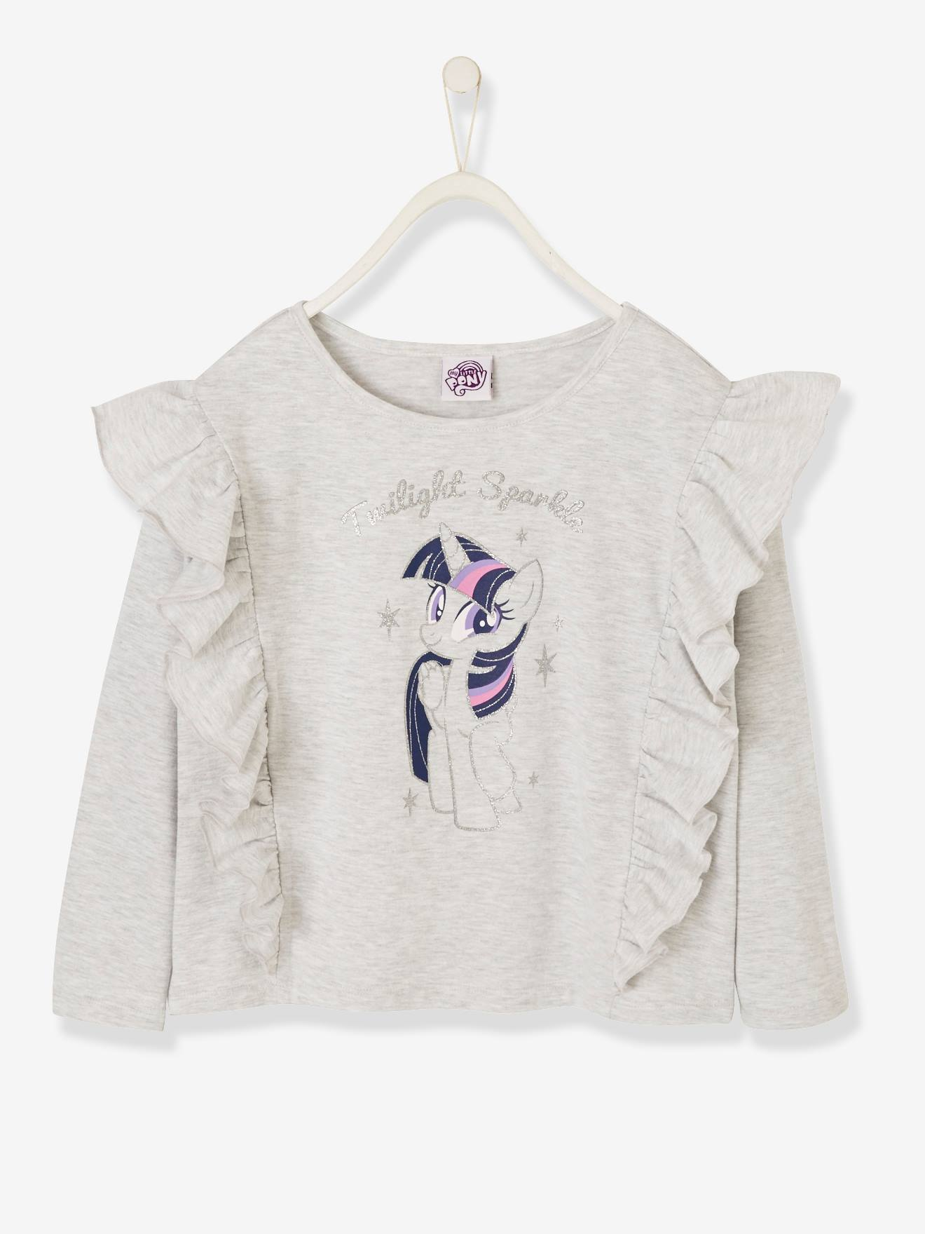 T-shirt fille manches longues My Little Pony® à paillettes gris chiné