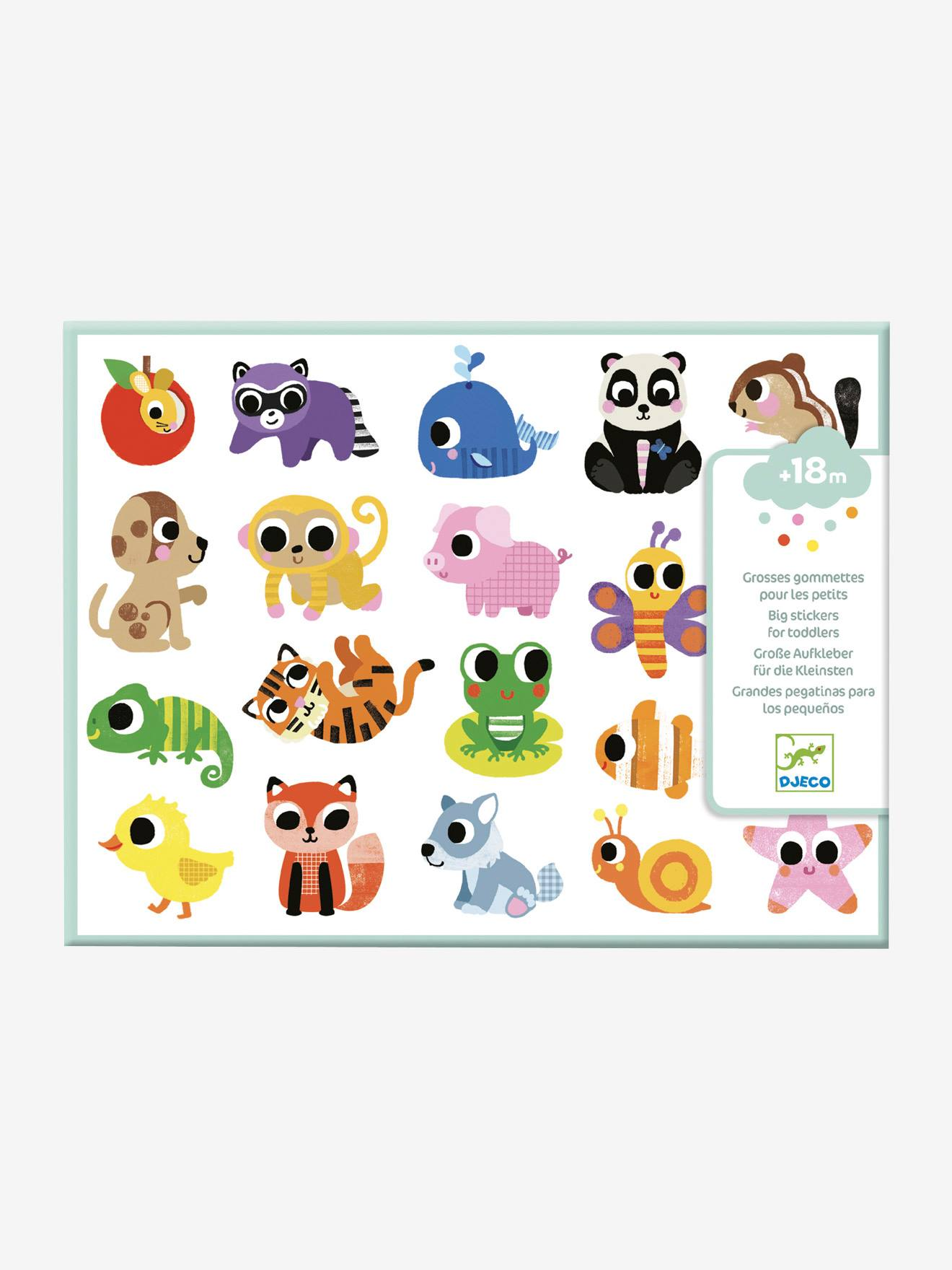 Gommettes faciles à attraper Bébés animaux DJECO multicolore