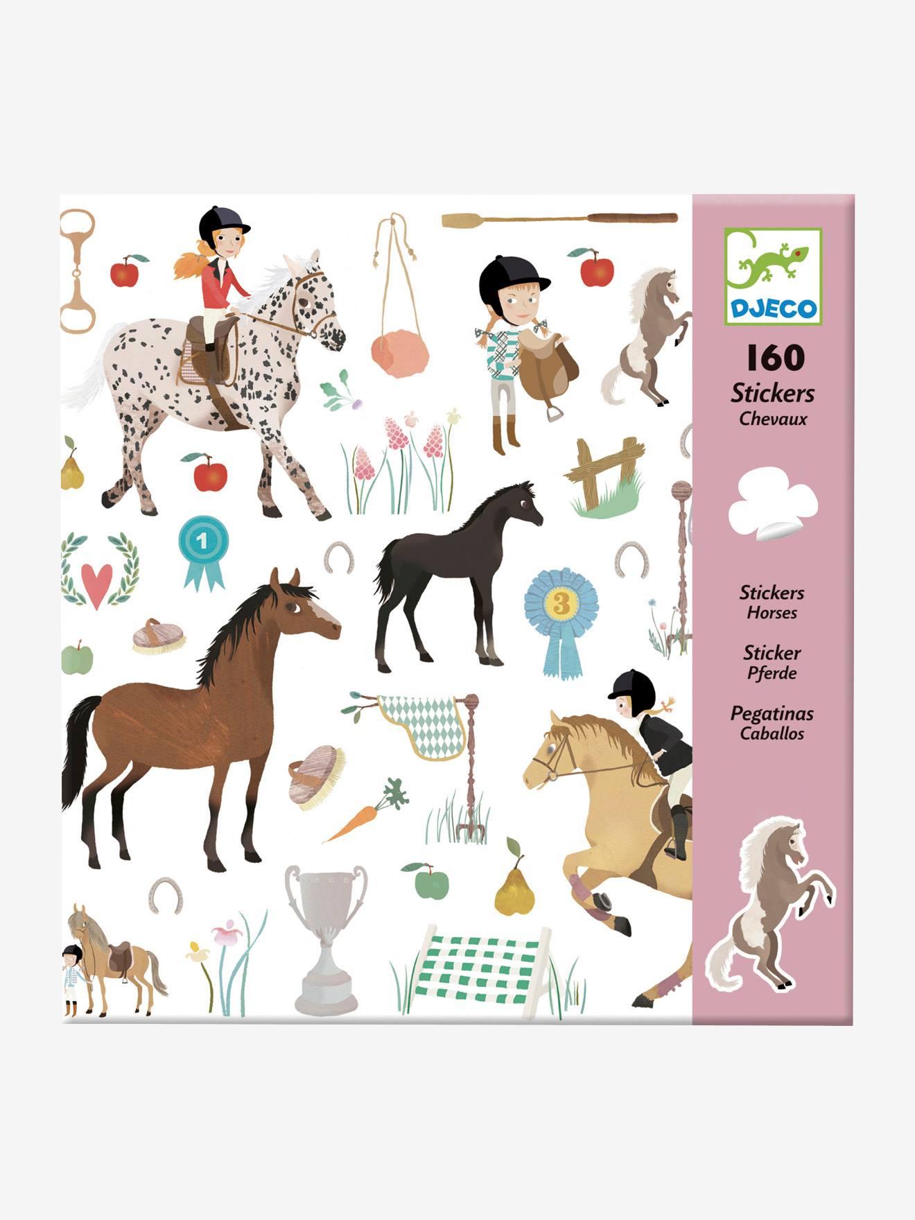 160 stickers Chevaux DJECO multicolore