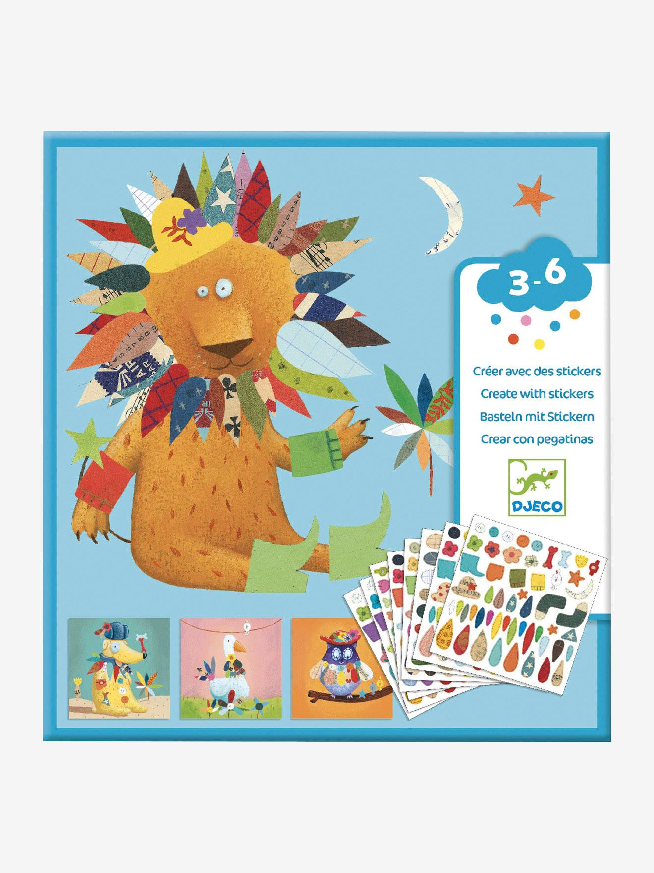 Stickers Créer des animaux DJECO multicolore