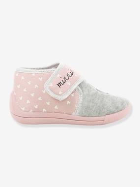 Chaussons scratchés bicolores fille Disney Minnie® rose/gris
