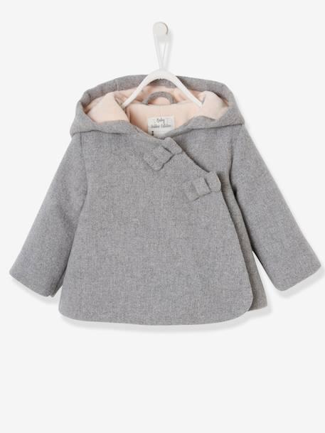 meilleures offres sur aperçu de pour toute la famille Manteau à capuche bébé fille lainage doublé et ouatiné gris clair chiné -  Vertbaudet