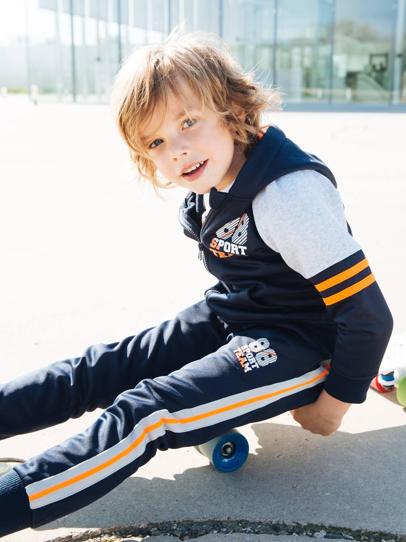 Pantalon sport garçon bandes et détails fluo encre Vertbaudet