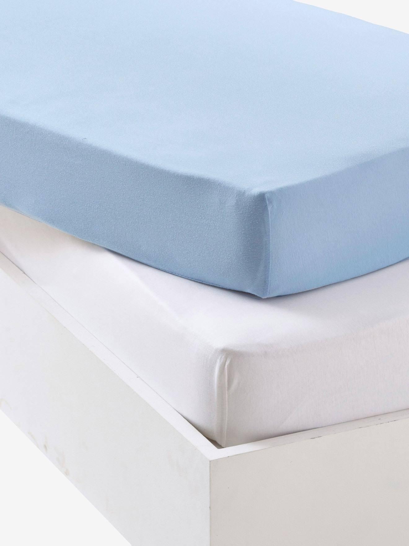 Lot de 2 draps-housses bébé en jersey extensible - bleu + blanc 79685dcb4ec