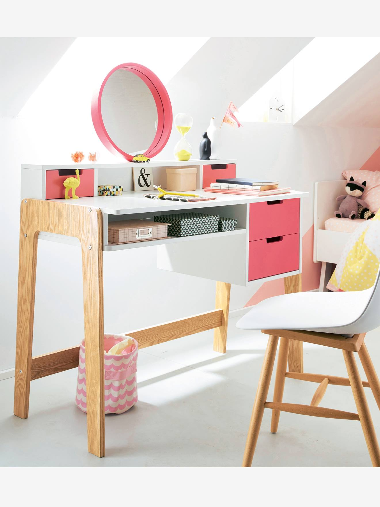 Bureau Coiffeuse Sp Cial Primaire Color Blocs Blanc Rose Bois  # Image D'Un Jolie Bureau Avec Bcp De Meubles