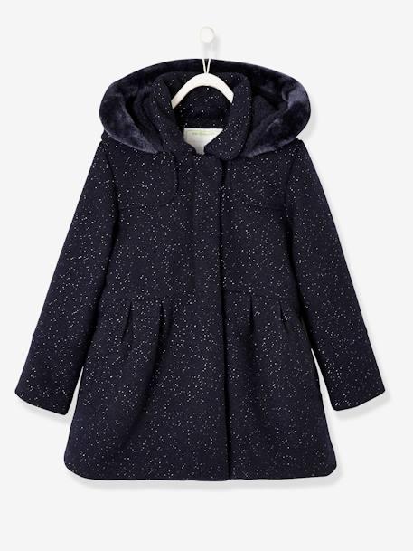 nouveau style 43874 7e69a Manteau fille en drap de laine marine grisé - Vertbaudet