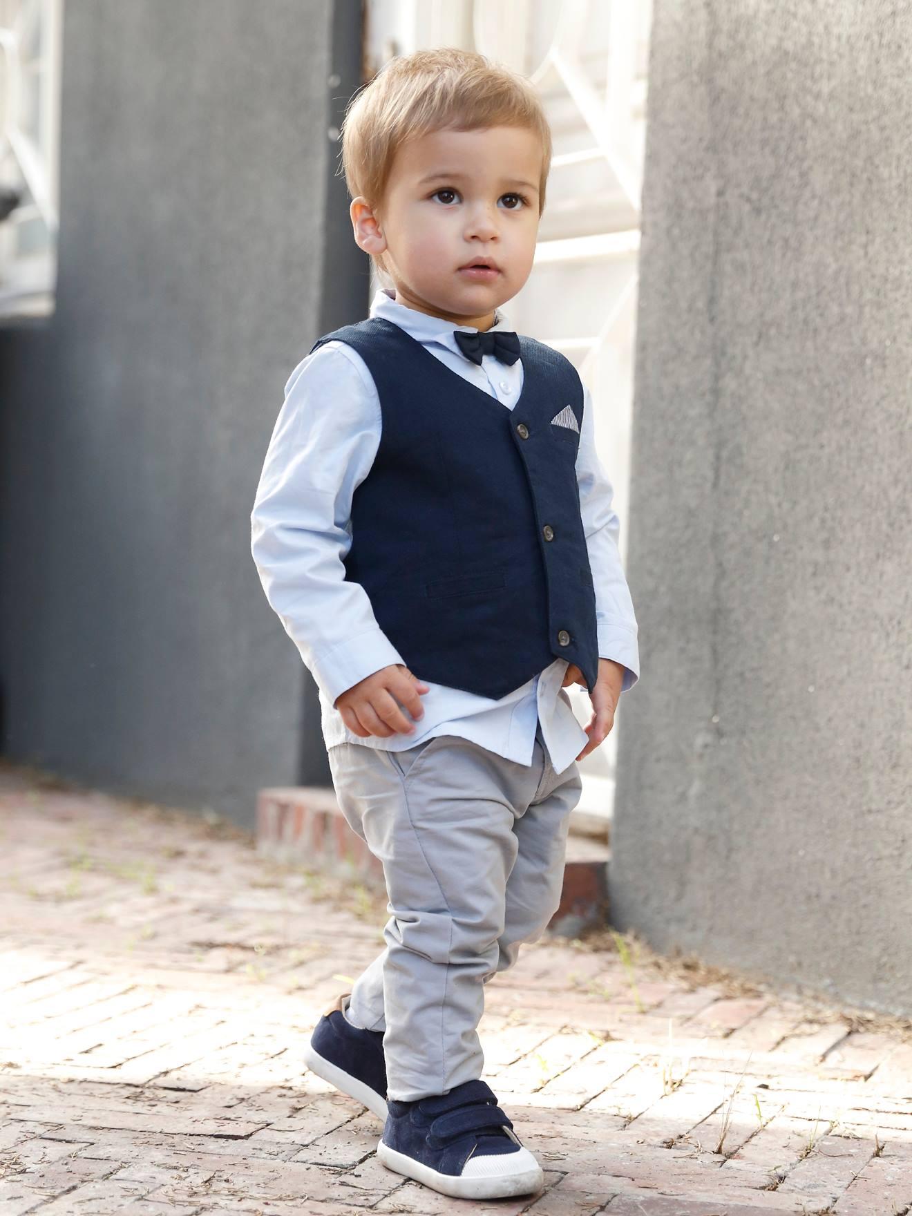Ensemble bébé garçon cérémonie gilet + chemise + noeud papillon + pantalon encre