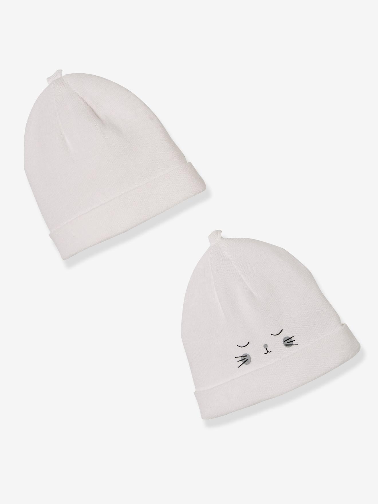 lot de 2 bonnets bebe special maternite en coton bio