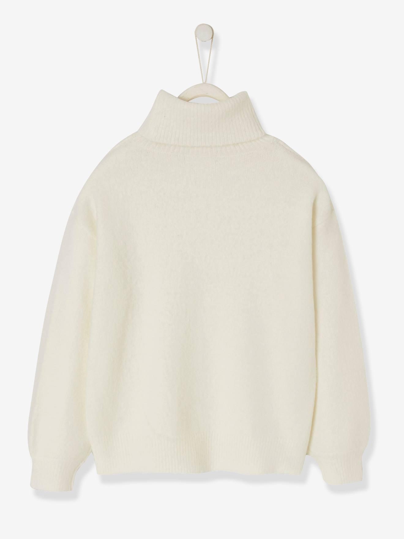 pull fille gris col roule