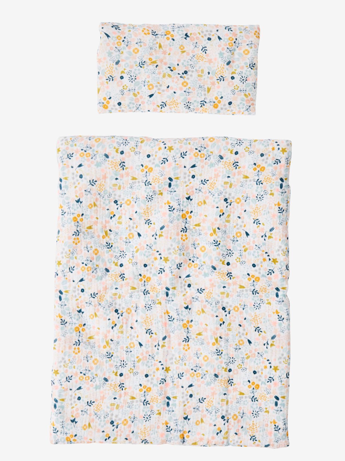 Couette + oreiller poupon en gaze de coton blanc fleuri