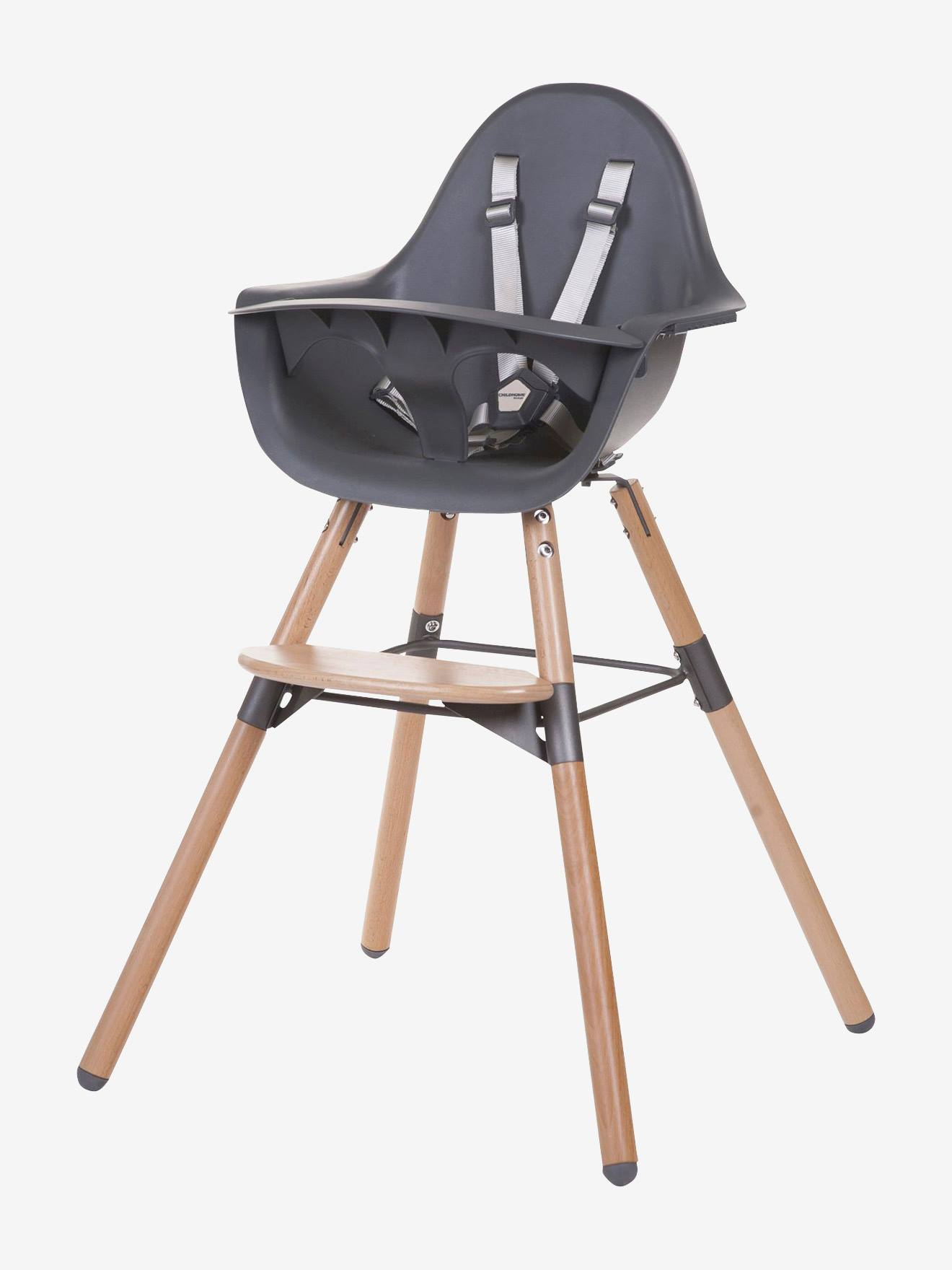 Chaise haute Evolu 2 + arceau CHILDHOME naturel anthracite